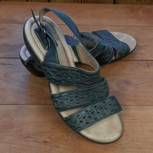 Blue leather Clark's artisan sandals